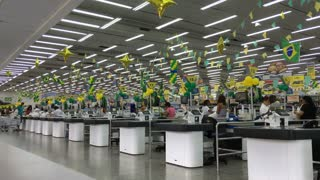 Multiple check out lanes at Guanabara supermarket Brazil 4k