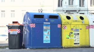 Multiple recycling bin containers in Prague