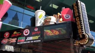 Multiple restaurants at Fast Food Court in Las Vegas 4k