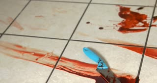 Murder scene in kitchen with knife and blood on tile floor 4k