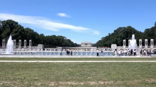 National World War II memorial landscape in Washington DC 4k