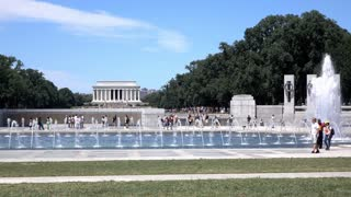 National World War II Memorial with Lincoln Memorial in background 4k