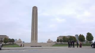 National WWI Museum in Kansas City establishing shot 4k