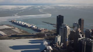 Navy Pier and city overview aerial shot Chicago 4k