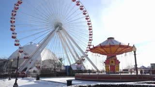 Navy Pier carnival with swings and ferris wheel 4k