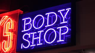 Neon Body shop sign advertising 4k