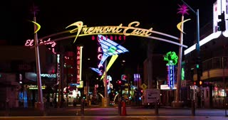 Neon lights on Fremont Street at night 4k