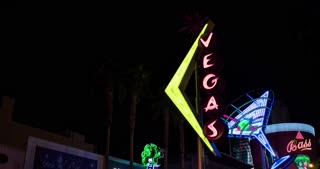 Neon signs in downtown Fremont street 4k