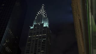 New York City Chrysler building downtown at night 4k