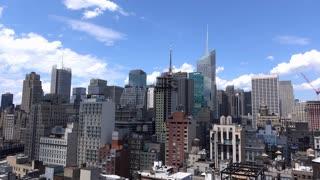 New York City downtown buildings establishing shot 4k