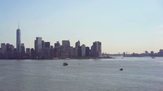 New York City overview of cityscape from water 4k