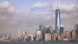 New York City skyline seen from across the river 4k