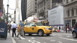 New York City Taxi drives by slow motion