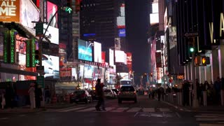 New York City Times Square Broadway with pedestrians 4k