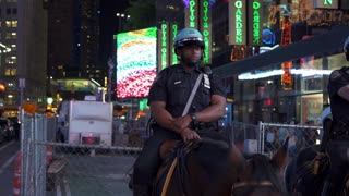 New York Officer on horse in downtown Times Square 4k
