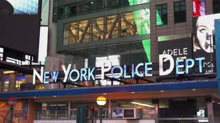 New York Police department in downtown Times Square 4k