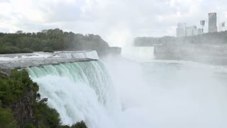 Niagara falls pan shot in slow motion
