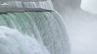 Niagara falls water rushing over edge slow motion