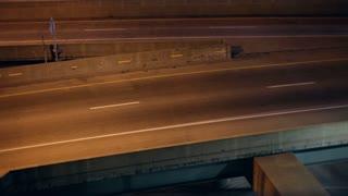 Night Highway Traffic merging lanes