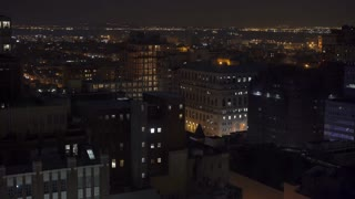 Night shot of Brooklyn New York city area 4k
