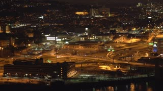 Night traffic in city of Pittsburgh seen from aerial perspective 4k