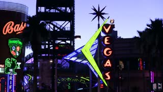 Night view of Neon signs on Fremont street