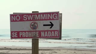 No swimming sign at ocean shore