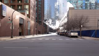 North Illinois Avenue in downtown Chicago 4k