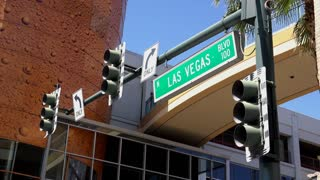 North Las Vegas Blvd sign in downtown Fremont 4k