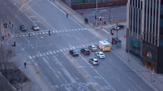 North Water Street intersection in downtown Chicago 4k