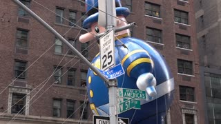 NYPD Balloon flying through streets of 89th annual Macys Parade 4k