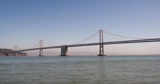 Oakland Bay Bridge pan shot 4k