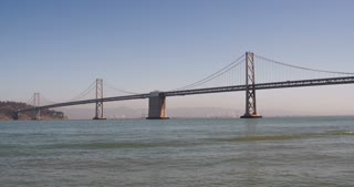 Oakland Bay Bridge wide shot 4k.