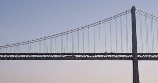 Oakland Bay Bridge with vehicles crossing 4k.