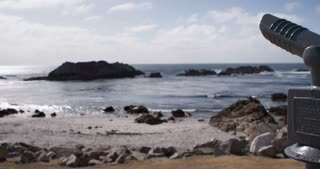 Ocean shore with looking Sight pan 4k