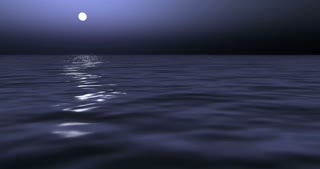 Ocean waves in moonlight render 4k