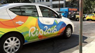 Official Rio 2016 car in downtown of the city 4k