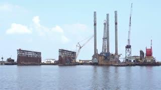 Oil rigging equipment in ocean