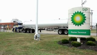Oil tanker entering gate at Dayton Terminal BP