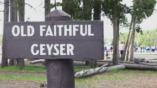 Old Faithful Geyser sign at Yellowstone