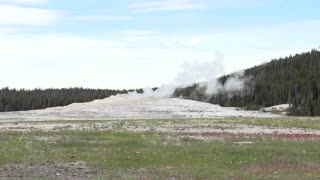 Old Faithful Geyser smoking
