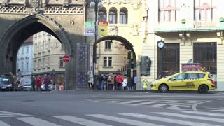 Old Gothic gate near Taxi station in Prague