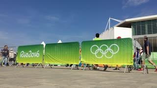 Olympics 2016 advertising banner in Rio de Janeiro 4k