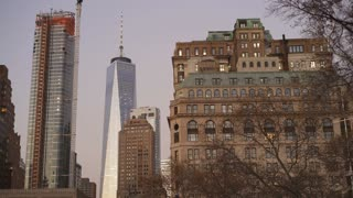 One World Trade Center in downtown New York City 4k