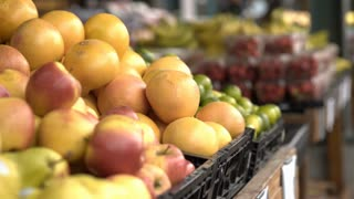 Oranges for sale at farmers market 4k