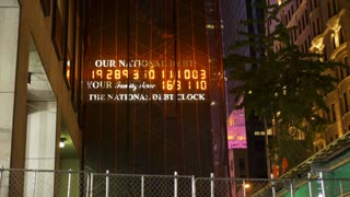 Our National Debt clock under construction in New York City 4k