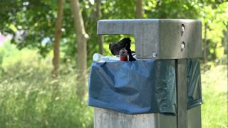 Overflowing trash can in park with alcohol bottle 4k