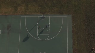 Overhead view of basketball court aerial shot 4k