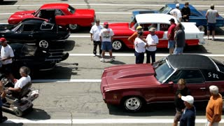 Overhead View of people lined up at race track