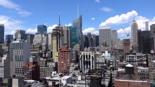 Overview of New York City buildings seen from above 4k